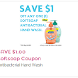 Save $1.00 on any Softsoap Antibacterial Hand Wash