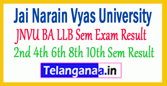 JNVU BA LLB 2nd 4th 6th 8th 10th Semester Result