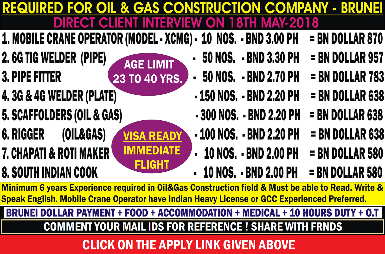 REQUIRED FOR OIL & GAS CONSTRUCTION COMPANY | BRUNEI | APPLY