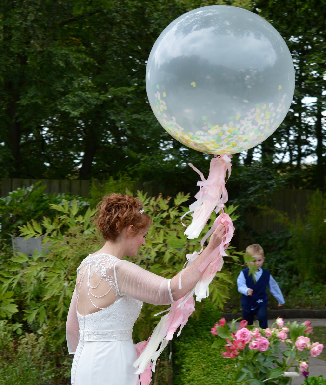 Weddings at The Parlour at Blagdon in Northumberland - giant confetti balloon