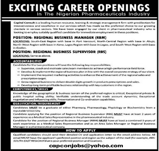 Capital Consult Nigerian Pharmaceuticals Industry Job Vacancies - 2018