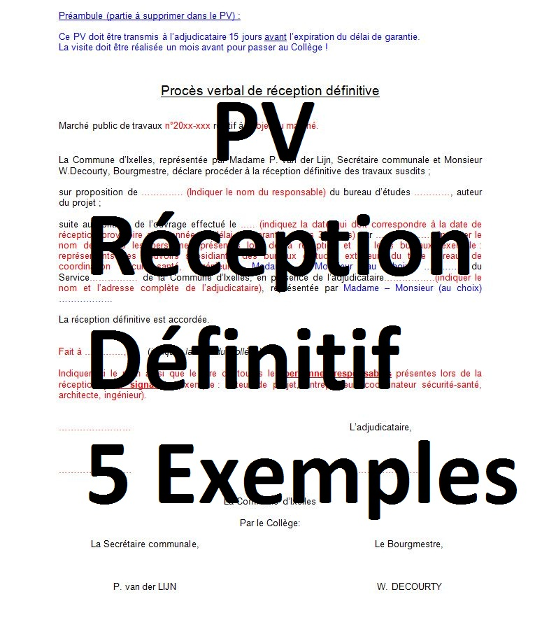 5 Modeles De Pv Reception Definitive En Word Doc Cours Genie Civil