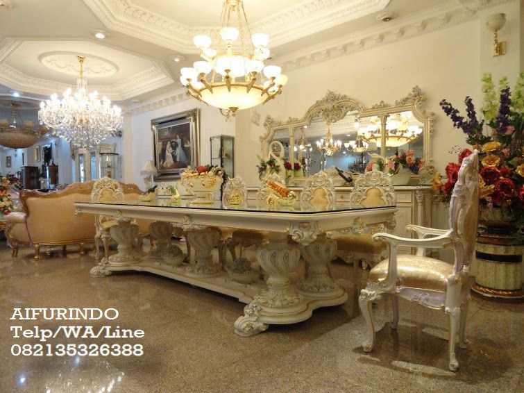Luxury Clic Dining Table Set With 12 Chair White Color French Furniture Indonesia
