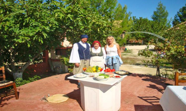A Zakynthian family in their eco farm ready to prepare a meal with fresh products