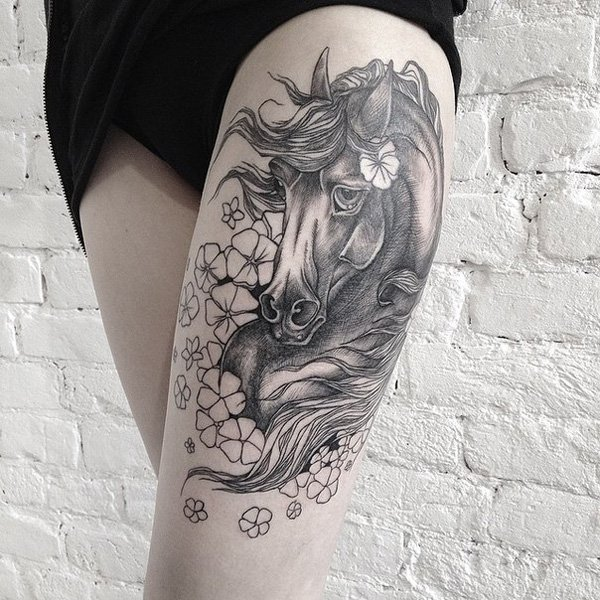 Horse Thigh Tattoos For Girls