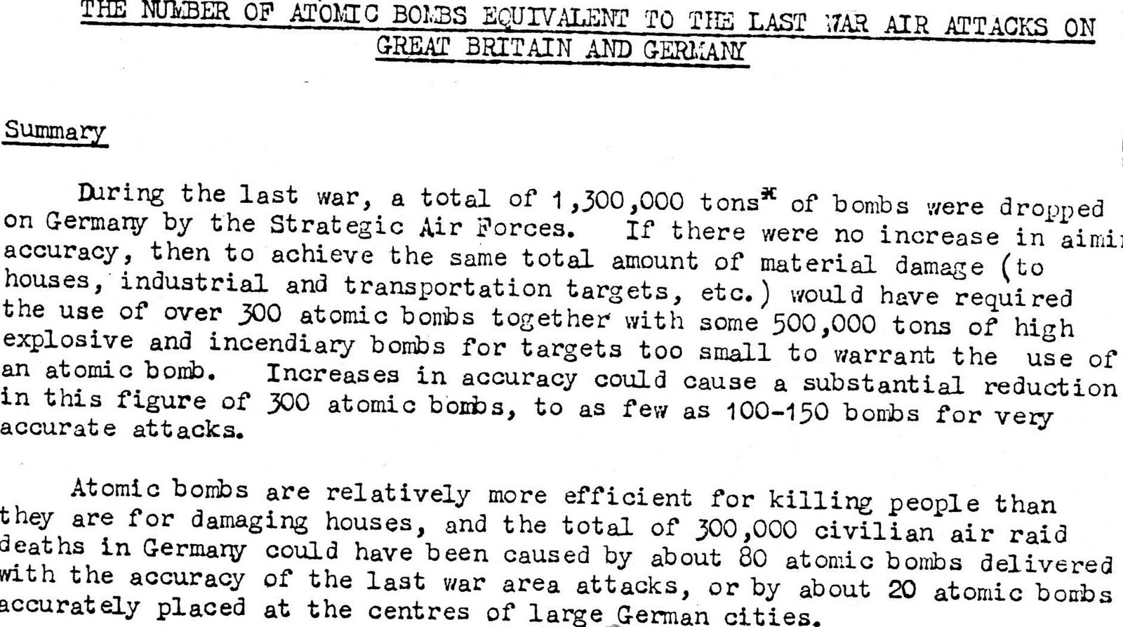 effects of nuclear weapons on world peace in the real not above home office scientific advisory branch s top secret report of 30 1950 comparing hiroshima to wwii air raids number of atomic bombs