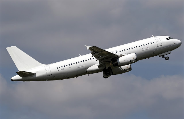 Airbus A320-200 All White Clear Livery While Climbing