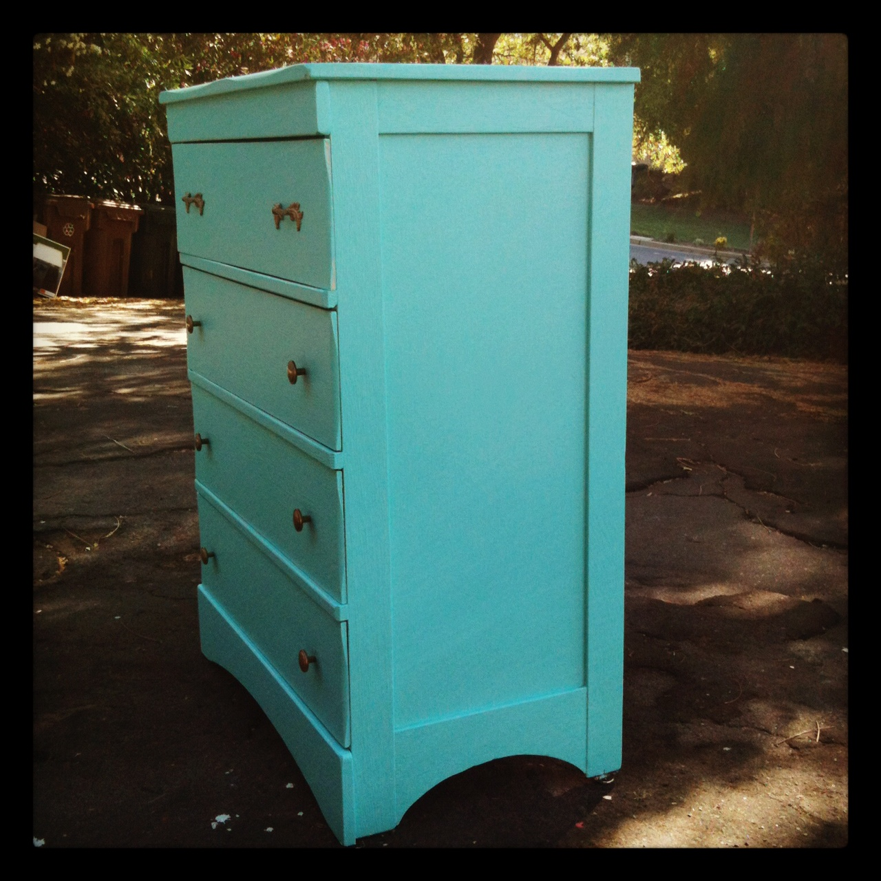 Bright Turquoise Gold Petite Tall Boy Dresser For A Smaller Space Or A