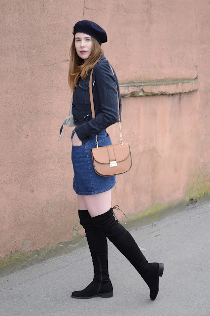 Women's Fashion blogger, Navy cropped military wool coat from Allsaints, Denim button down A-line skirt. Vintage Beret, Black suede Thigh high boots from Public desire