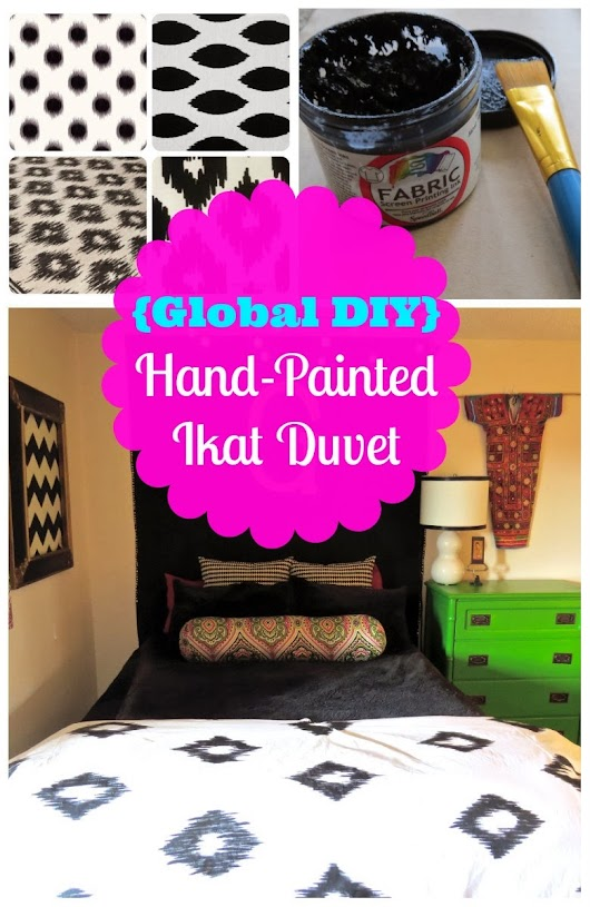 {Global DIY} Hand-Painted Ikat Duvet (With Tutorial!)