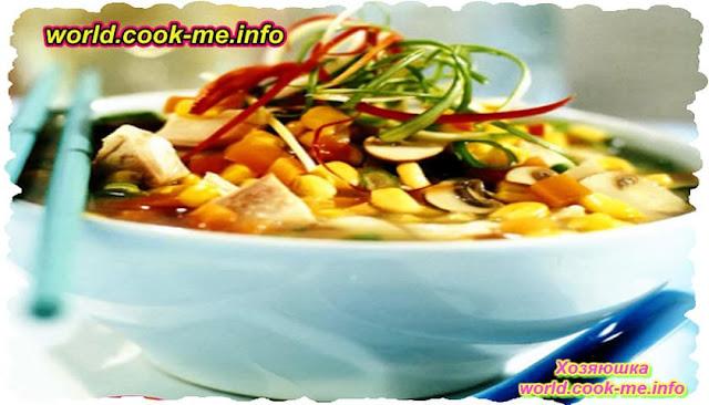 Быстрый овощной суп с курицей