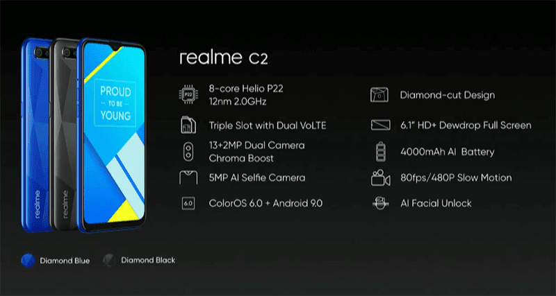 Here are the specs of the realme C2