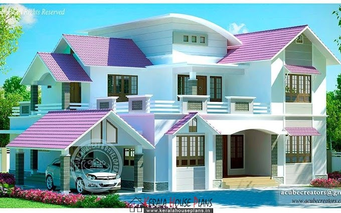 Double floor Kerala modern home design 2819 sq.ft