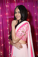Adaa Sharma in White Pink Saree at Zee Telugu Apsara Awards 2017 02.JPG