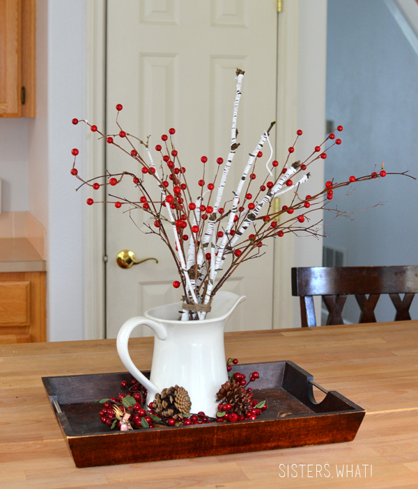 red berries and sticks wrapped in yarn - perfect for Christmas through v-day