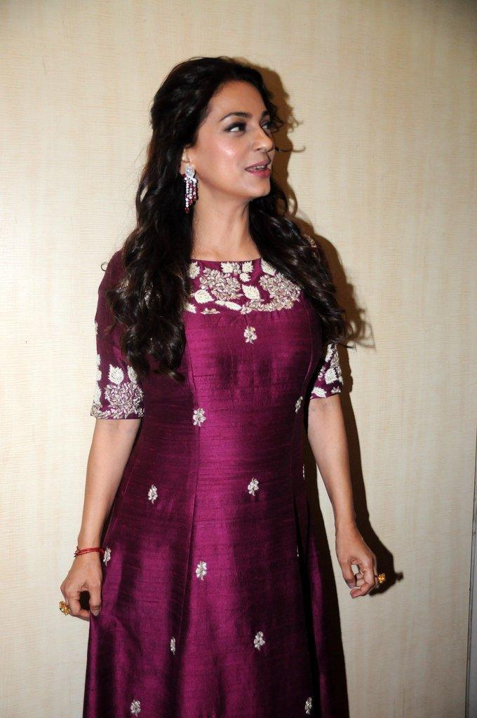 Mumbai Actress Juhi Chawla At Dadasaheb Phalke Awards In Maroon Dress