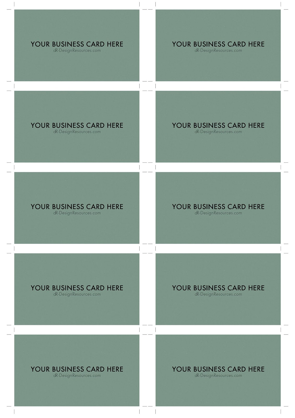 Free Photoshop Tutorials - Template for business cards 10 per sheet