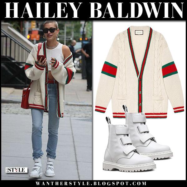 Hailey Baldwin in cream knit gucci cardigan, jeans and white boots dr. martens coralia model street style may 22
