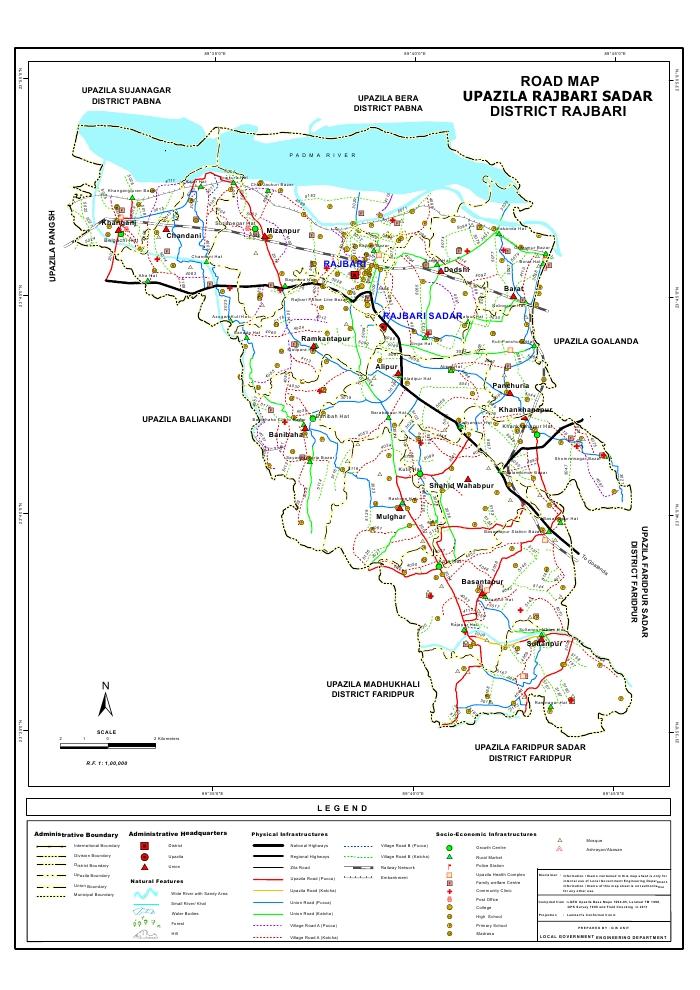 Rajbari Sadar Upazila Road Map Rajbari District Bangladesh