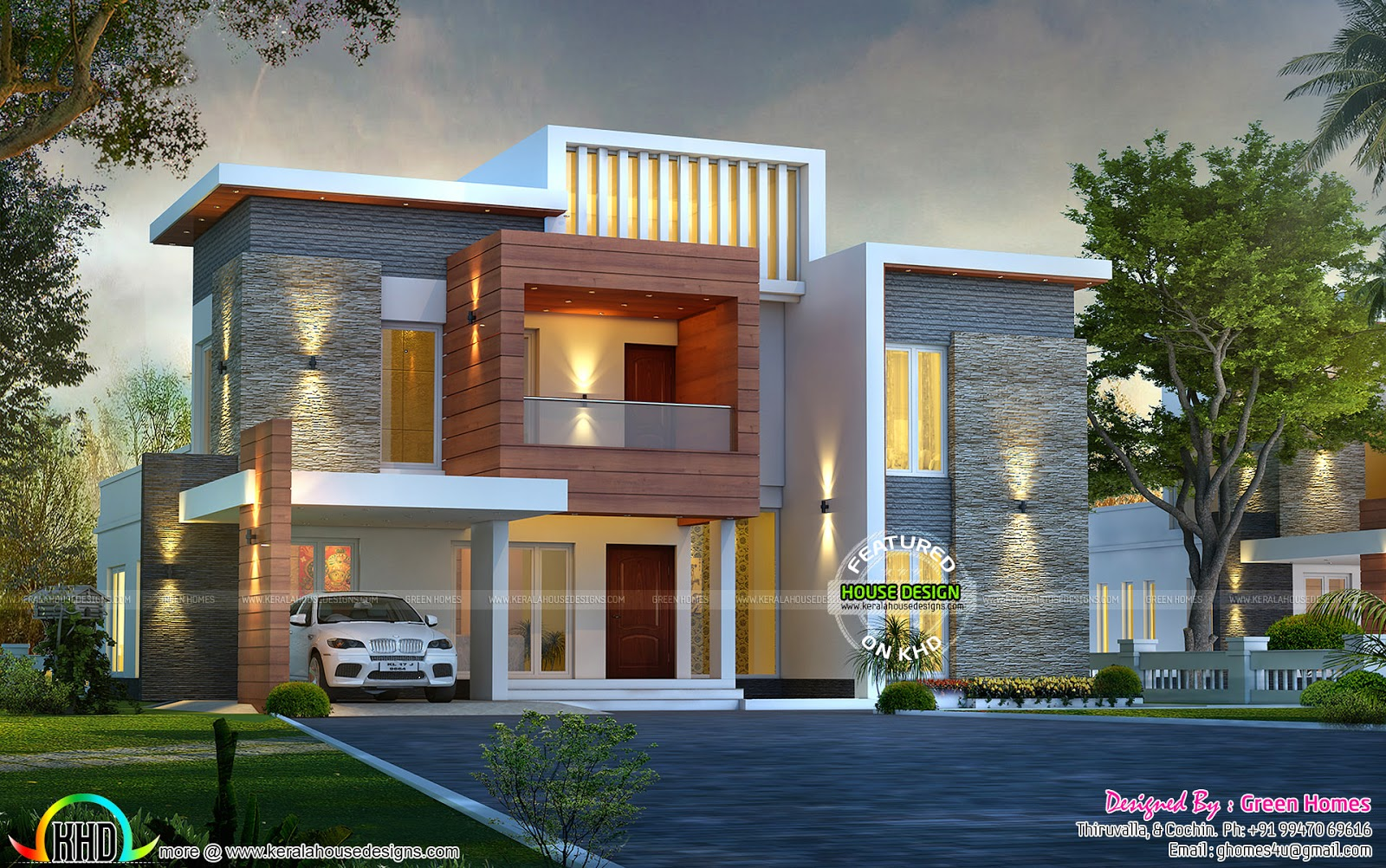 Awesome contemporary style 2750 sq ft home kerala home for New kerala house plans with front elevation