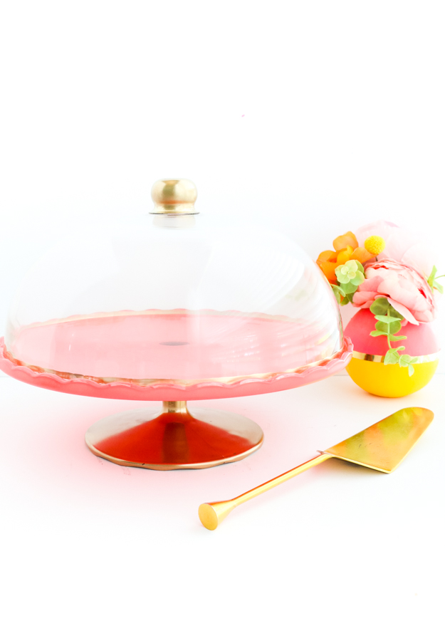 A kailo chic life diy it custom colored cake stand for Colored glass cake stand