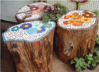 decoraciones lindas para el jardin con troncos cerámica