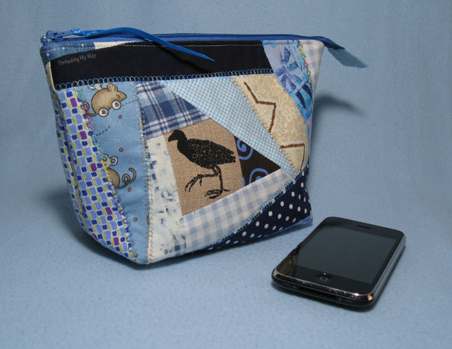 Crazy Patchwork Open Wide Pouches - Threading My Way