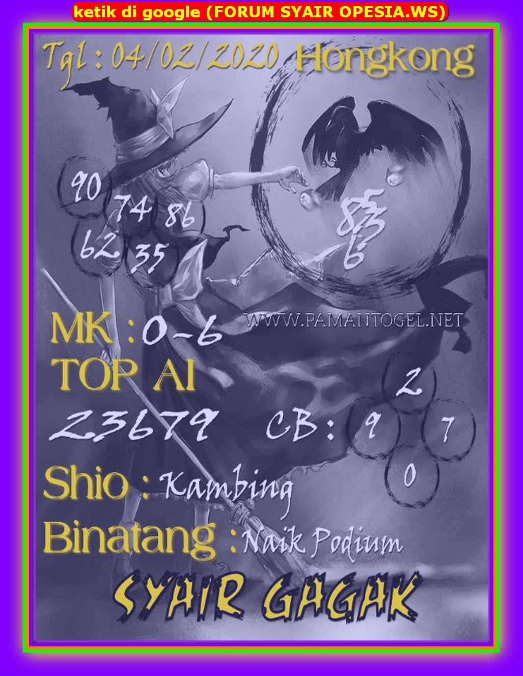 Kode syair Hongkong Selasa 4 Februari 2020 135