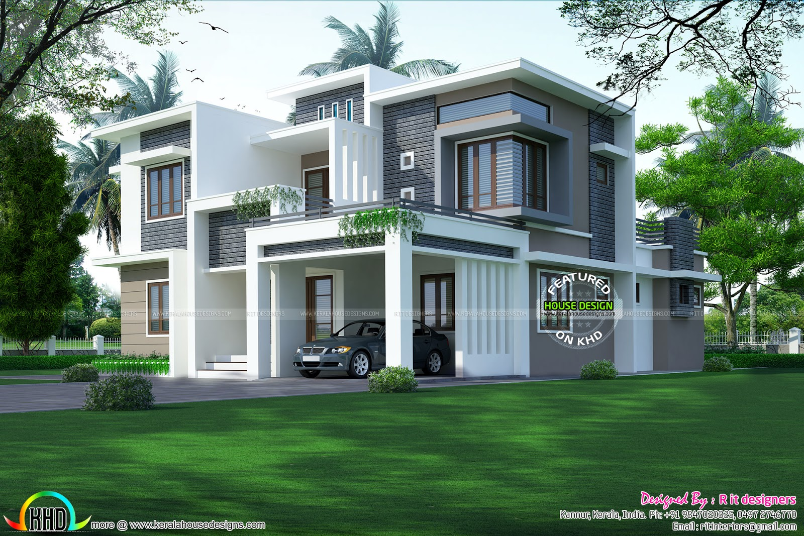 3017 square feet contemporary home kerala home design for Modern square house