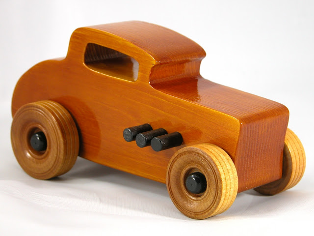 Right Front - Wood Toy Cars - Wooden Cars - Wood Toys - Wooden Car - Wood Toy Car - Hot Rod - 1932 Ford - 32 Deuce Coupe - Little Deuce Coupe - Roadster - Race Car