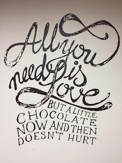 Sign saying: All you need is love, but a little chocolate now and then doesn't hurt