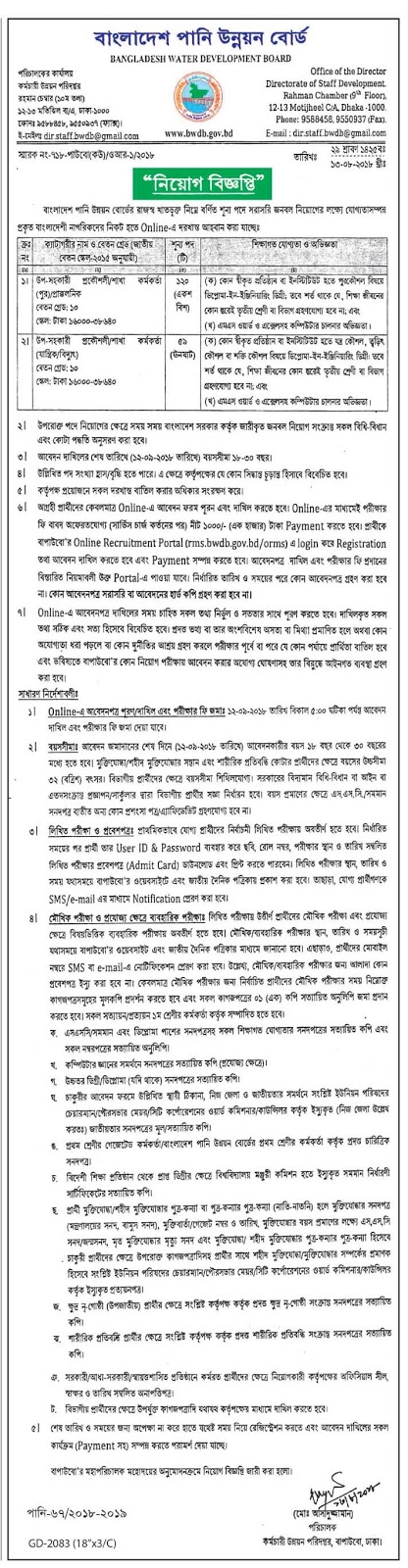 Bangladesh Water Development Board (BWDB) Job Circular 2018