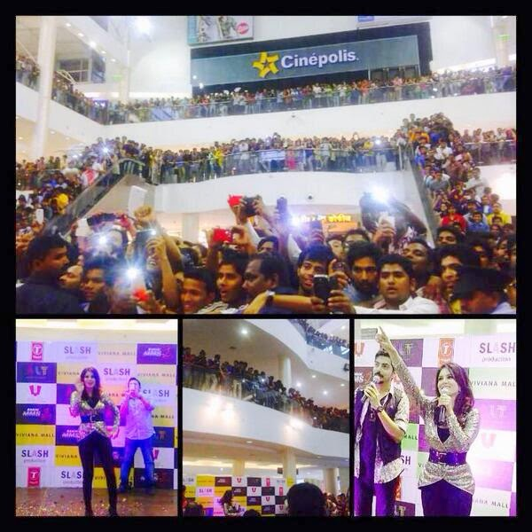 Sunny Leone driving her fans crazy while promoting Ragini MMS 2 at Viviana Mall, Thane, Mumbai