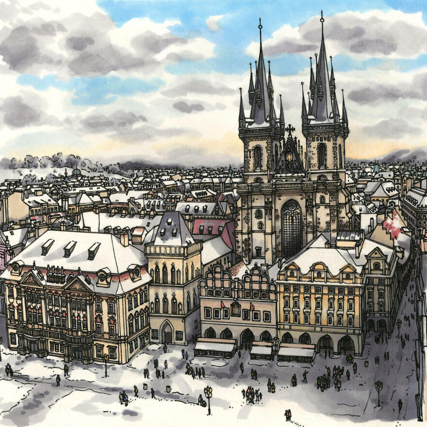 13 Artistic Illustrations Of Famous Places Around The World - Prague, Old Town Square (Czech Republic)