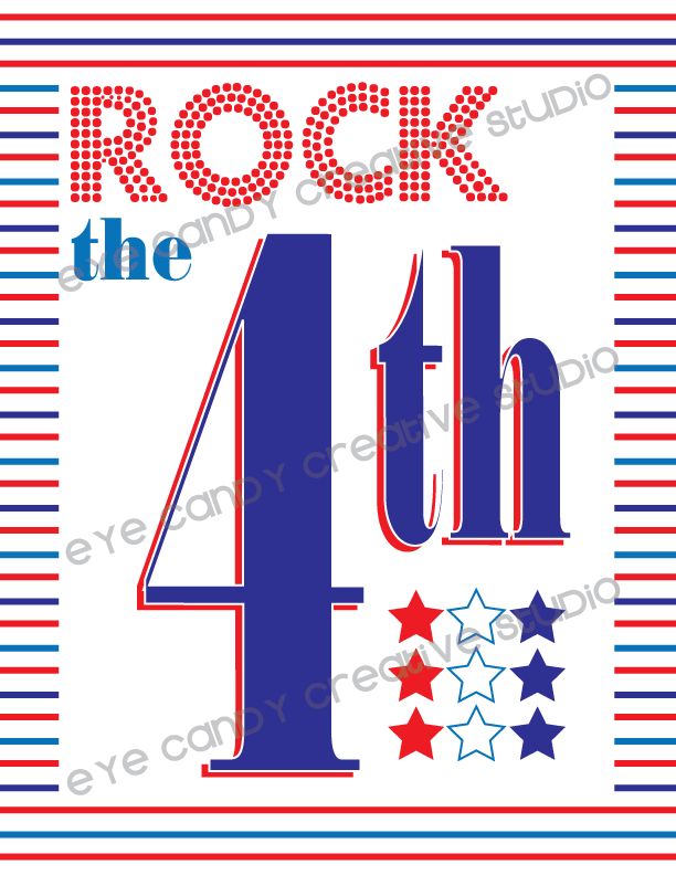 rock the 4th, art print, 4th of july, red white & blue, stripes, patriotic