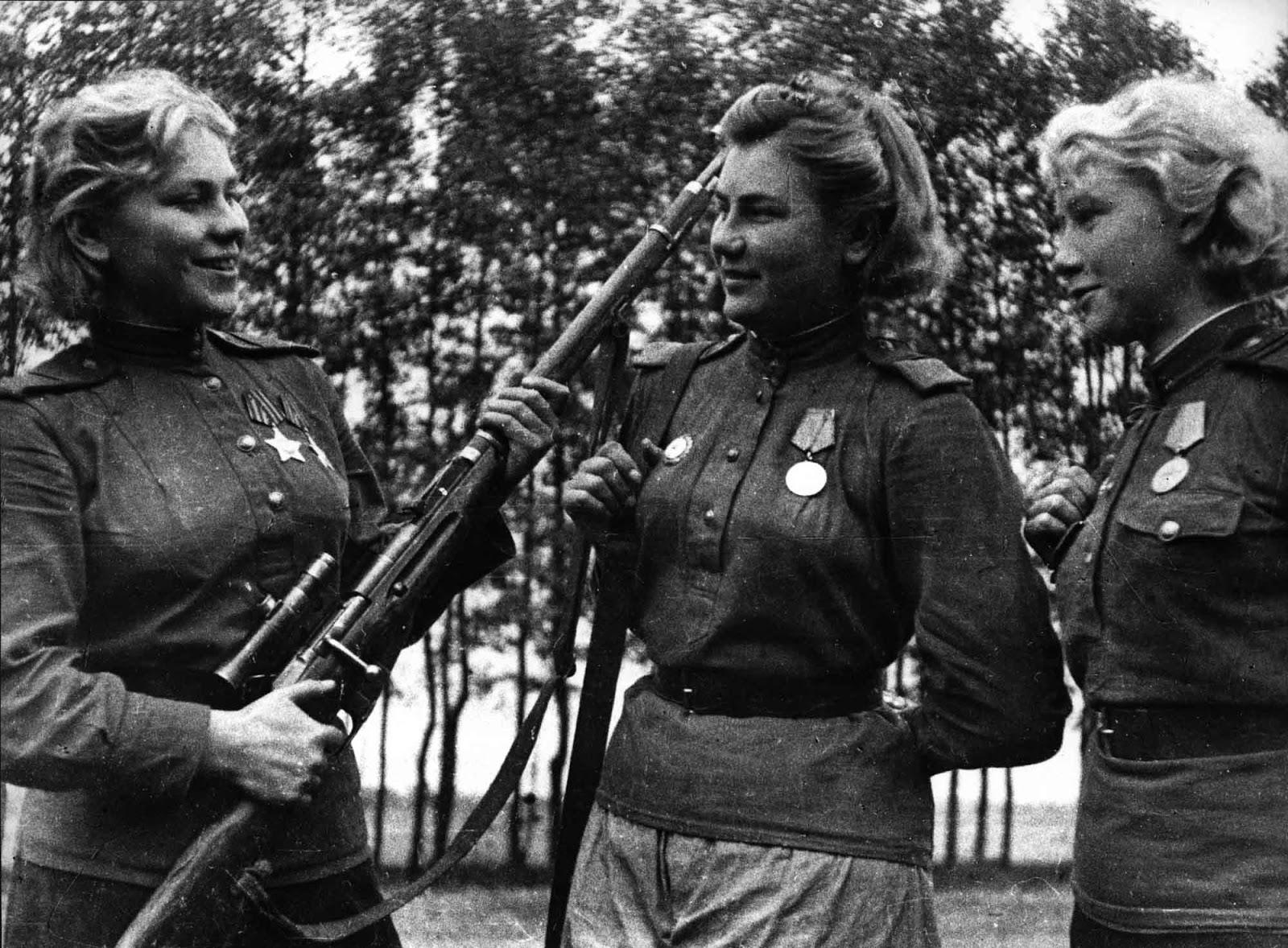 Roza Shanina, Alexndra Maksimovna Ekimova and Lydia G. Vdovin.