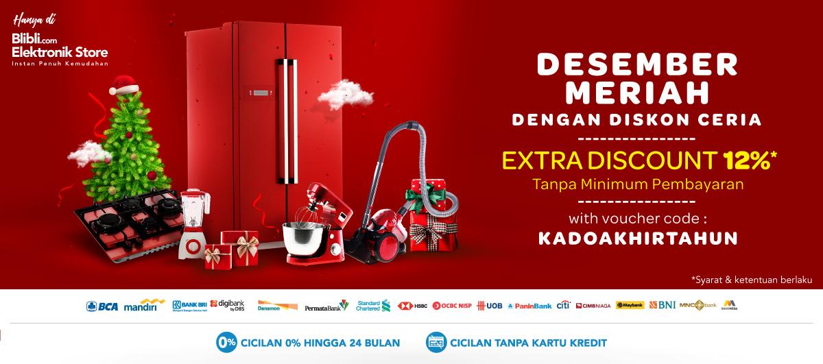 Blibli - Promo Voucher Extra Diskon 12% di Desember Meriah Diskon Ceria (s.d 31 Des 2018)