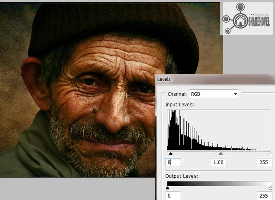 image adjustment level - tutorial cara membuat efek smudge painting di photoshop