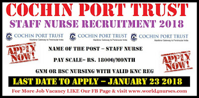 Cochin Port Trust Staff Nurse Recruitment  2018