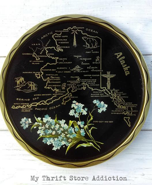 vintage Alaska state souvenir tray