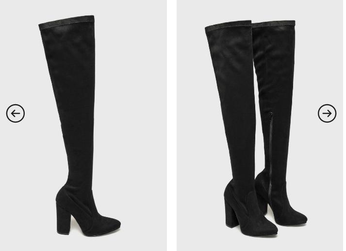 Answear - Cizme ieftine piele naturala negre lungi cu toc gros comode de iarna