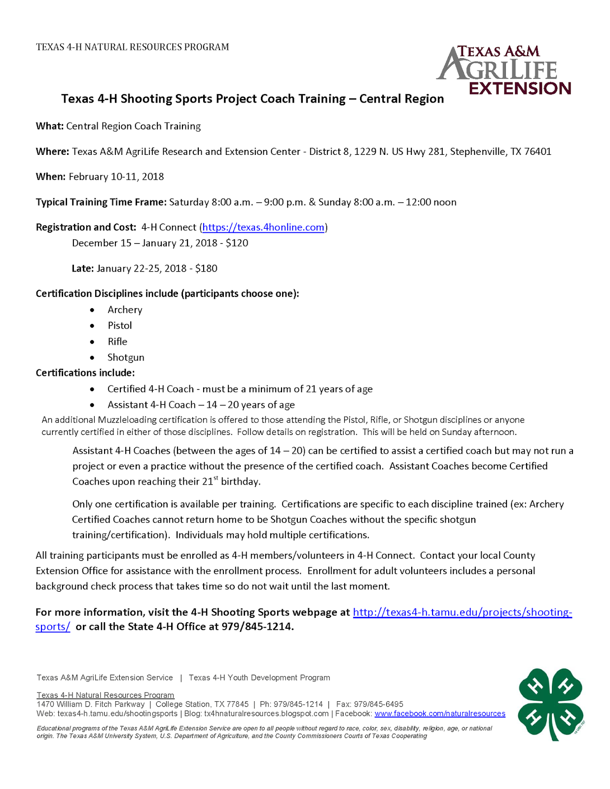 Travis County 4-H: Texas 4-H Shooting Sports Project Coach Training ...