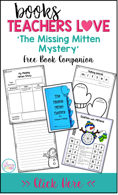 This book companion has various  'The Missing Mystery' cross-curricular activities: Reading: Summarizing the story, Spelling: Word making with the word: mitten, Math: Smitten with Mittens addition game and Narrative Writing graphic organizer and writing paper.