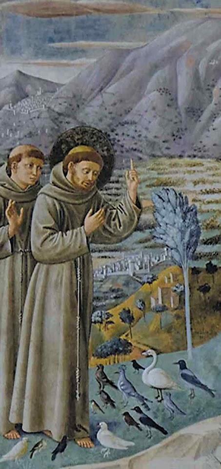 São Francisco pregando aos passarinhos. Benozzo Gozzoli (1421 - 1497), Montefalco.
