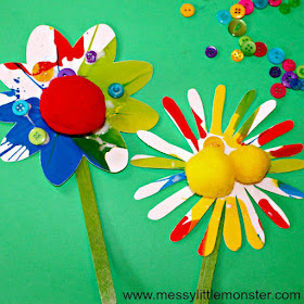 rainbow spin art flowers with popsicle sticks