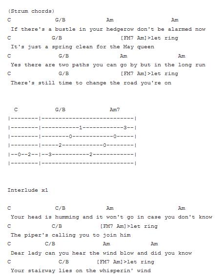 Guitar guitar tabs stairway to heaven : The Guitar Songs: Stairway to heaven Tab Part II