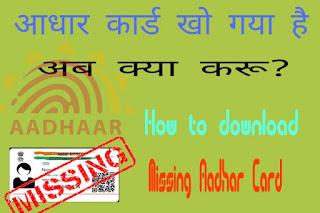 Lost Aadhar Card How To Get New One Hard Copy,How to reissue your lost Aadhaar card,how to retrieve lost aadhar card,पूरी जानकारी हिंदी में