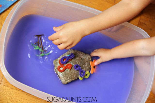 The Deep Blue Sea book sensory bin idea