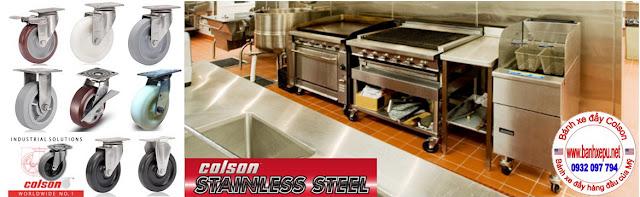 Bánh xe đẩy hàng càng inox 304 Nylon chịu lực 450kg | 4-8498-824