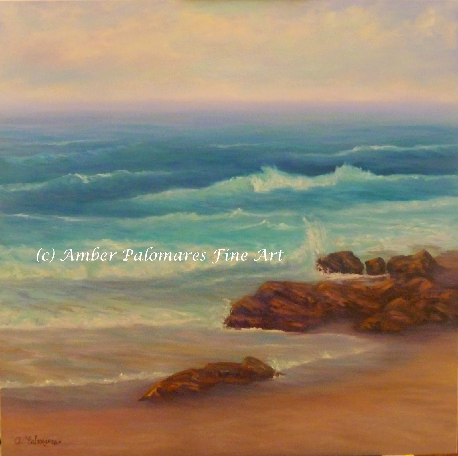 Beautiful beach oil painting of Blowing Rock in Jupiter